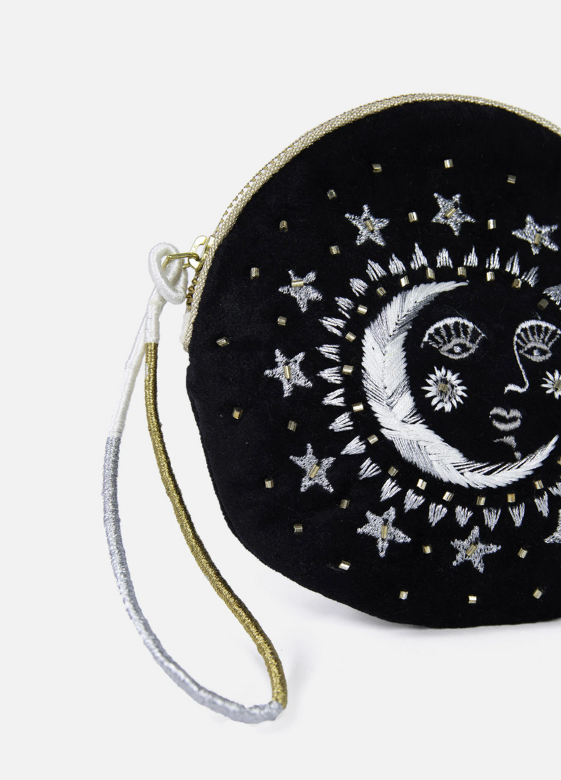 Printfresh Moonface Zip Pouch - Zipper Bag - Zip Pouch - Zipper - Moon Bag - Women's Clothing Store - Women's Accessories - Ladies Boutique - O KOO RAN - BIg Bear Lake California