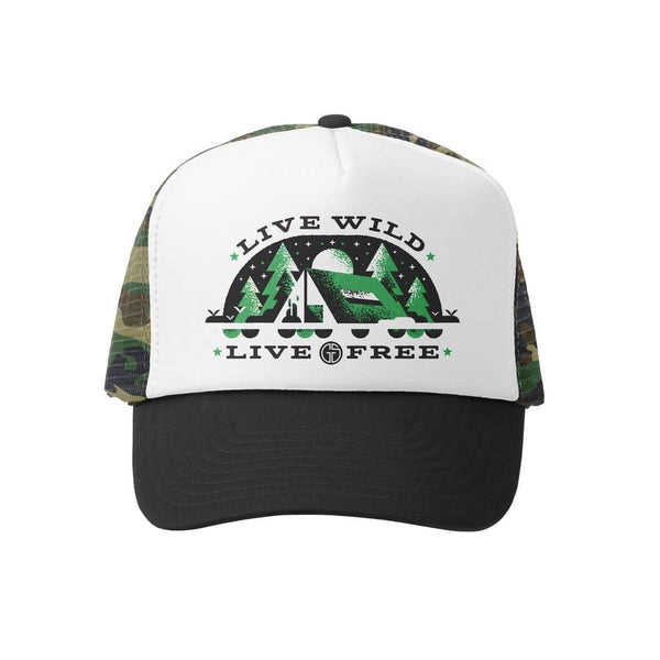 Grom Squad - Live Wild Live Free Trucker Hat - Baby Trucker Hat - Kids Trucker Hat - Infant Accessories - Children's Boutique - Baby Clothing Store - Camp Crib - Big Bear Lake California