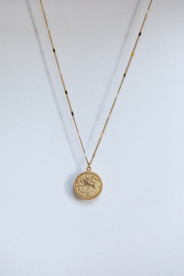 Gold Zodiac Medallion Necklace