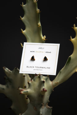 JaxKelly Black Tourmaline Mini Energy Gem Earrings - Jewelry - Women's Clothing Store - Ladies Boutique - Accessories - O KOO RAN - Big Bear Lake California