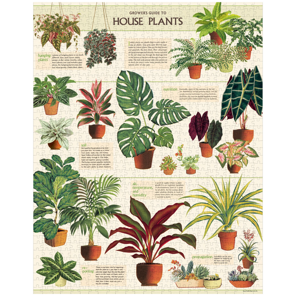Cavallini Papers & Co. House Plants Vintage Puzzle - House Plant Puzzle - Plant Puzzle - Puzzle - Game - Cabin Game - Family Puzzle - Gifts & Games - Women's Clothing Store - Ladies Boutique - O KOO RAN - Big Bear Lake California