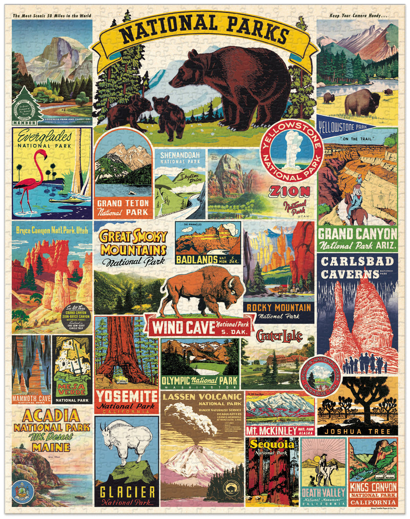 Cavallini National Parks Puzzle - Vintage Puzzle - Puzzle - Game - Gift - Women's Clothing Store - Women's Accessories - Ladies Boutique - O KOO RAN - Big Bear Lake California