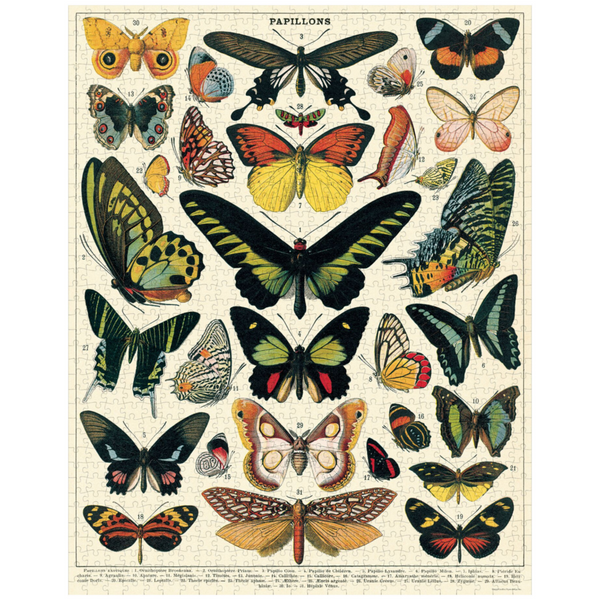 Cavallini Papers & Co. Butterflies Vintage Puzzle - Butterfly Puzzle - Puzzle - Game - Cabin Game - Family Puzzle - Gifts & Games - Women's Clothing Store - Ladies Boutique - O KOO RAN - Big Bear Lake California