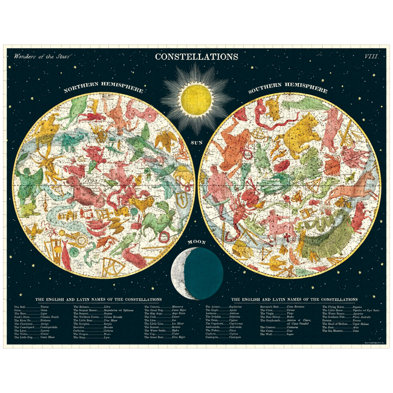 Cavallini Papers & Co. Constellations Vintage Puzzle - Zodiac Puzzle - Constellation Puzzle - Puzzle - Game - Cabin Game - Family Puzzle - Gifts & Games - Women's Clothing Store - Ladies Boutique - O KOO RAN - Big Bear Lake California