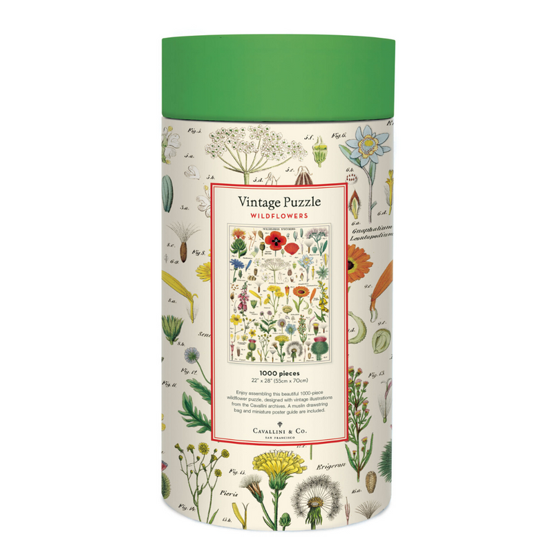 Cavallini Papers & Co. Wildflowers Vintage Puzzle - Flower Puzzle - Floral Puzzle - Puzzle - Game - Cabin Game - Family Puzzle - Gifts & Games - Women's Clothing Store - Ladies Boutique - O KOO RAN - Big Bear Lake California