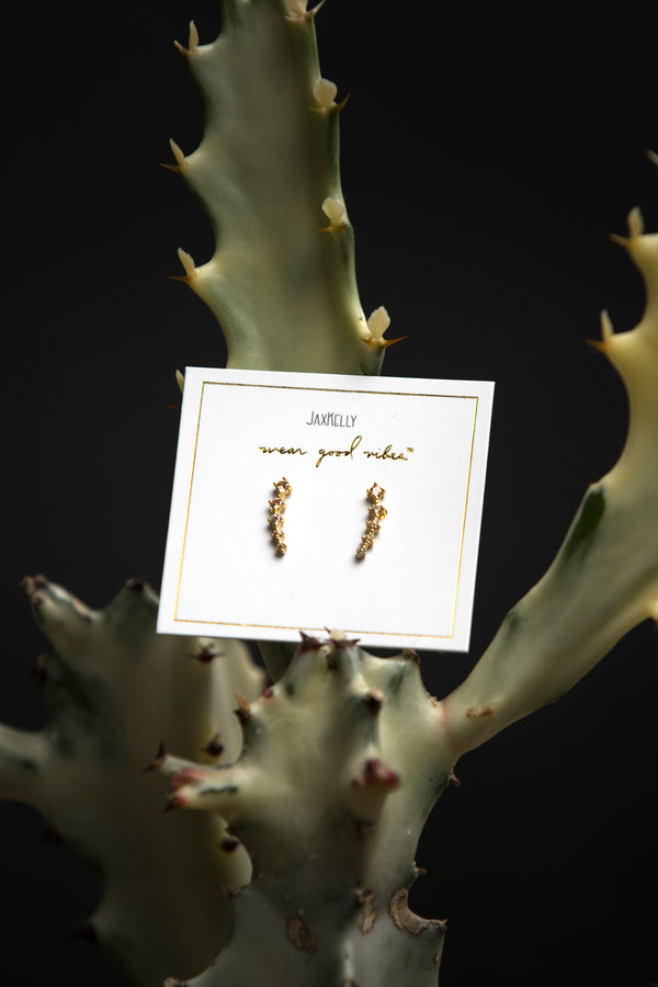 JaxKelly Champagne Crawler Earrings - Jewelry - Women's Clothing Store - Ladies Boutique - Accessories - O KOO RAN - Big Bear Lake California