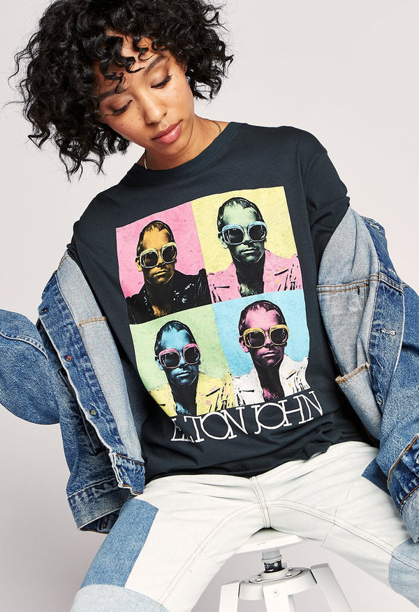 Daydreamer Elton John Pop Color Boyfriend Tee - Oversized T-Shirt - Elton John - Band Tee - Women's Clothing Store - Women's Accessories - Ladies Boutique - O KOO RAN - Big Bear Lake California