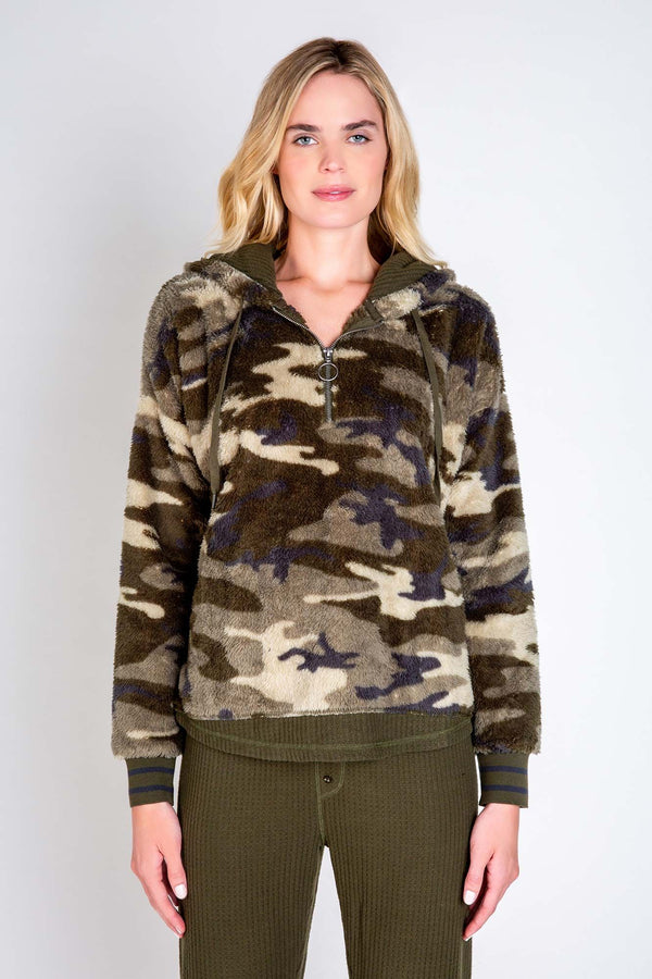 PJ Salvage Camo Cozy Hoodie - Camo Print Sweatshirt - Cozy Hoodie - Cozy Sweater - Women's Loungewear - Women's Clothing Store - Ladies Boutique - O KOO RAN - Big Bear Lake California