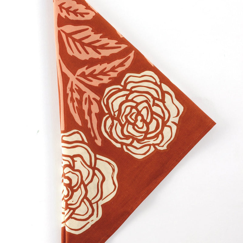 Hemlock Rose Bandana - Handkerchief - Neckerchief - Women's Accessory - Women's Clothing Store - Ladies Boutique - O KOO RAN - Big Bear Lake California