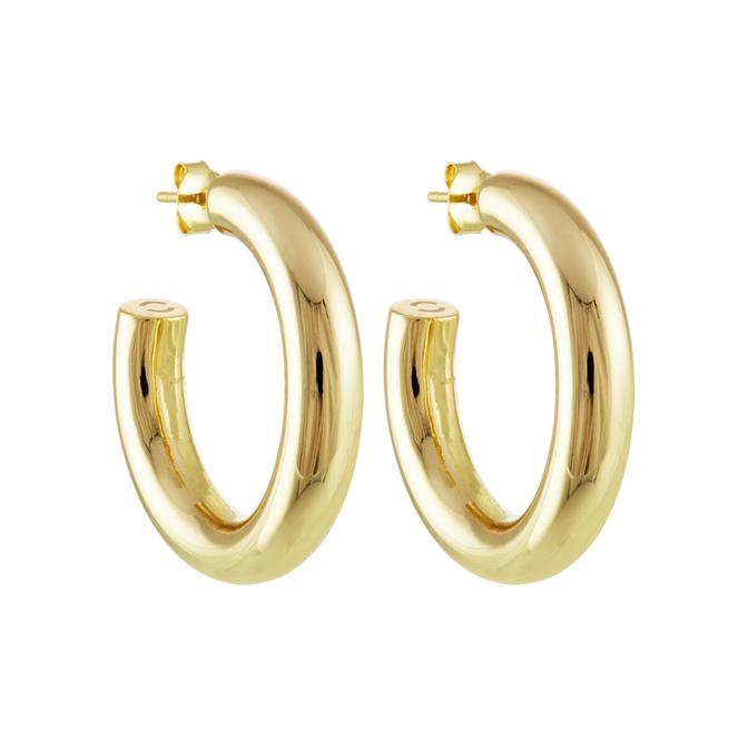 "Machete 1"" Perfect Hoop Earrings in 14K Gold - Hoops - Earrings - Gold Jewelry - Accessories - Women's Boutique - Women's Clothing Store - Women's Accessories - O KOO RAN - Big Bear Lake California"