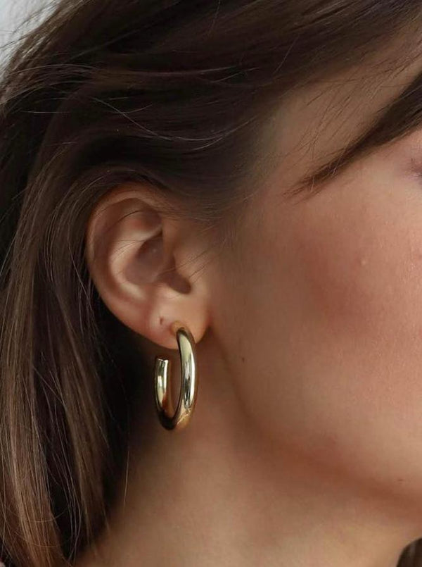 "Machete 1.5"" Perfect Hoop Earrings in 14K Gold - Hoops - Earrings - Gold Jewelry - Accessories - Women's Boutique - Women's Clothing Store - Women's Accessories - O KOO RAN - Big Bear Lake California"
