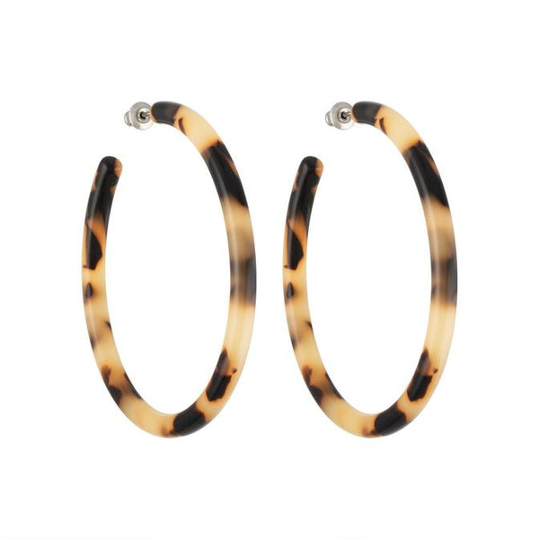 Machete Large Hoops In Blonde Tortoise - Hoops - Earrings - Unique Jewelry - Accessories - Women's Boutique - Women's Clothing Store - Women's Accessories - O KOO RAN - Big Bear Lake California