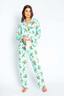 PJ Salvage Just Peachy PJ Set With Mask - Cozy Pajamas - Ladies PJS - Loungewear - Lounge Clothes - Women's Clothing Store - Boutique - O KOO RAN - Big Bear Lake California