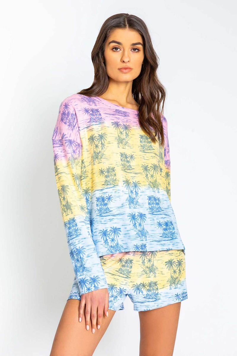 PJ Salvage Ombre Palm Tree Long Sleeve - Pigment Please Long Sleeve Top - Cozy Pajamas - Ladies PJS - Loungewear - Lounge Clothes - Women's Clothing Store - Boutique - O KOO RAN - Big Bear Lake California
