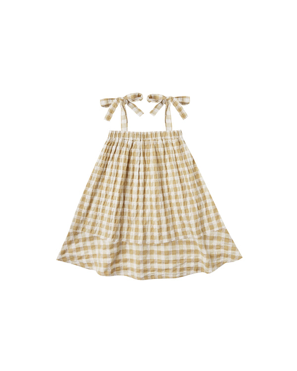 Gingham Shoulder Tie Dress