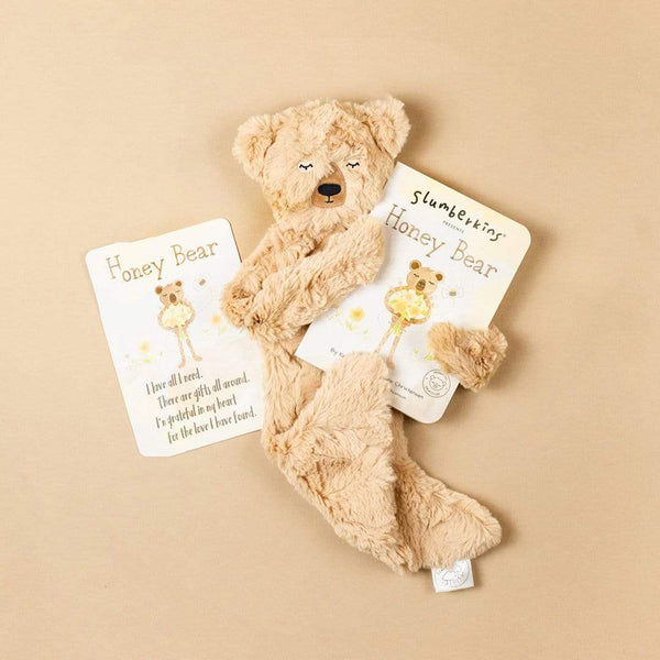 Slumberkins Honey Bear Snuggler Bundle - Baby Stuffed Animal - Security Blanket - Children's Boutique - Baby Clothing Store - Camp Crib - Big Bear Lake California
