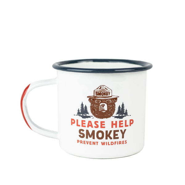 Smokey Bear Enamelware Mug - The Landmark Project - Camping Cup - Adventure - Smokey The Bear - Reusable - Women's Clothing Store - Boutique - O KOO RAN - Big Bear Lake California