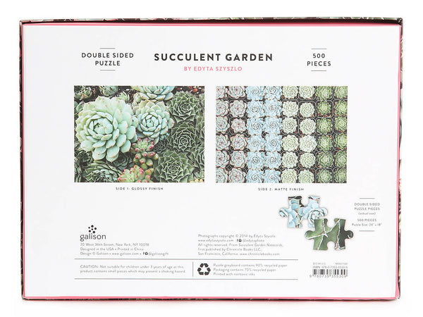 Succulent Garden Double Sided Puzzle - Game - Puzzle Games - Cabin Games - Family Activity - Women's Clothing Store - Women's Accessories - Gift Store - O KOO RAN - Big Bear Lake California