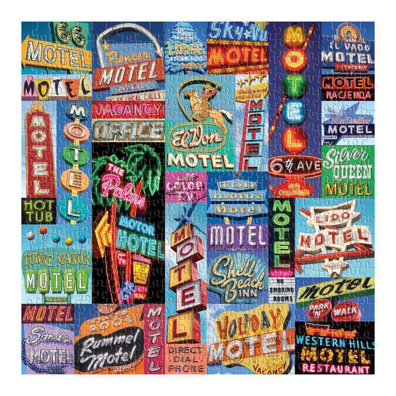 Vintage Motel Signs Puzzle - Game - Puzzle Games - Cabin Games - Family Activity - Women's Clothing Store - Women's Accessories - Gift Store - O KOO RAN - Big Bear Lake California