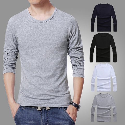 Young men Basic colors Long Sleeve Slim T-shirt