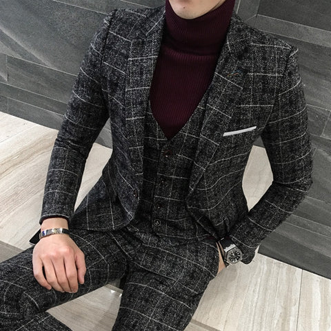 Men's Casual Three-piece Suit Business Fashion Plaid Black Slim Suit Coat