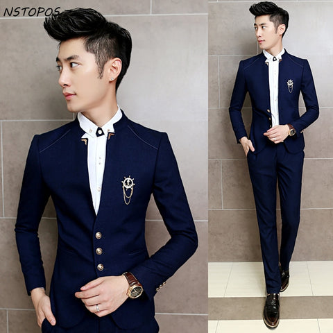 Men Suits Blazer with Pants  Mandarin Collar Tuxedo Slim Fit 3xl Men Suits Bridegroom Costume Homme Mariage  Navy Black Wine Red