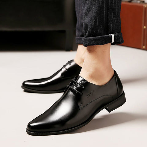 Formal Genuine Leather Business Casual Shoes Men Dress Office Luxury Shoes Male Breathable Oxfords