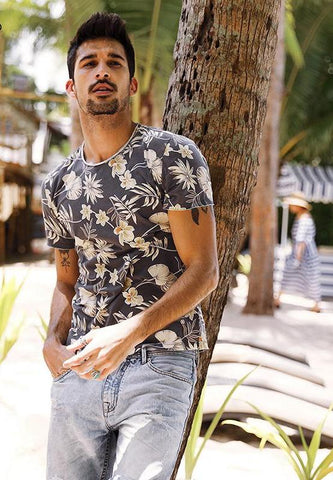 Summer T Shirt Men Slim Fit 100% Pure Cotton Print  New Fashion Floral Brand Clothing Plus Size