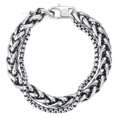 Wheat Curb Cuban Link Double Chain Stainless Steel Male Bracelets Jewelry