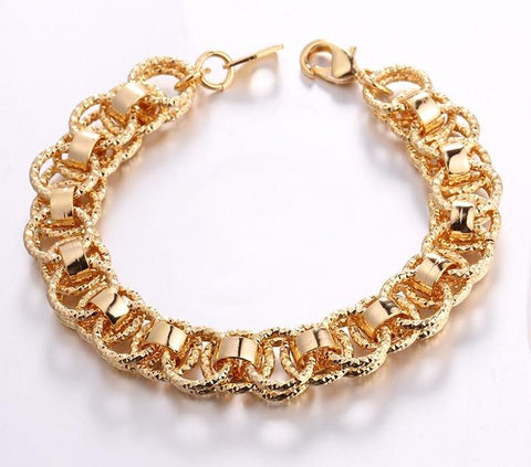Women/Men Hand  Trendy Gold/Silver/Black Color 21cm Unique Round Bracelets Bangles