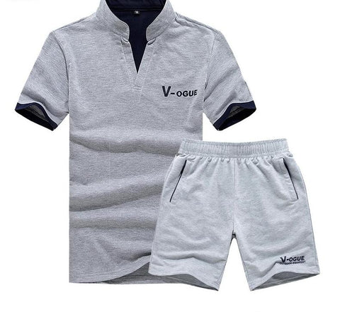 Casual Suit Men Summer Sets Active Tracksuits for Men Stand Collar Clothing Men Streetwar Tops Tees and Shorts Set
