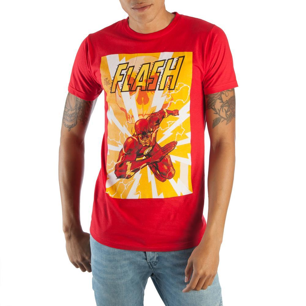 DC Comics The Flash In Action Men's Bright Red Graphic Print Boxed Cotton T-Shirt
