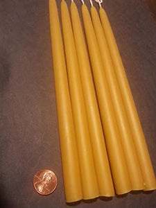 "Beeswax taper candles size 5/8"" at the base"