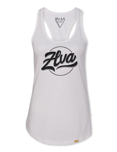 ZLVA WOMEN'S BEACH LOGO SCOOP TANK - WHITE