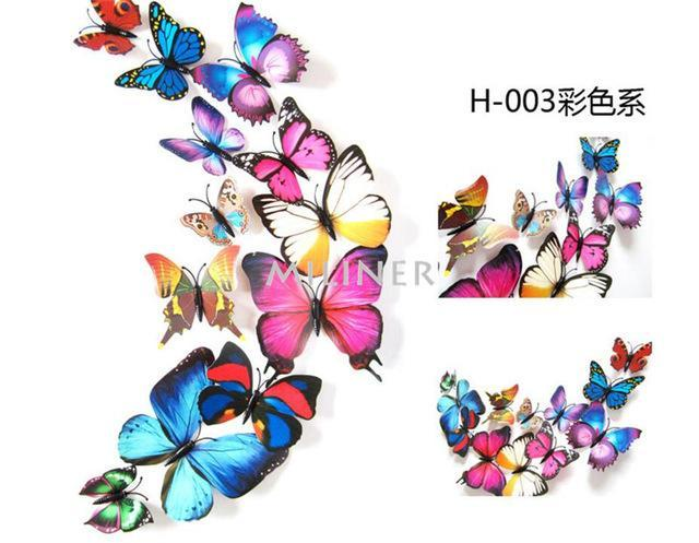 ... Free Shipping 12pcs PVC 3d Butterfly Wall Decor Cute Butterflies Wall  Stickers Art Decals Home Decoration ...
