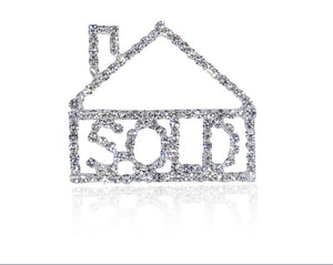 "Fancy Design of Bling Rhinestone ""HOUSE SOLD"" Word Lapel Pin"