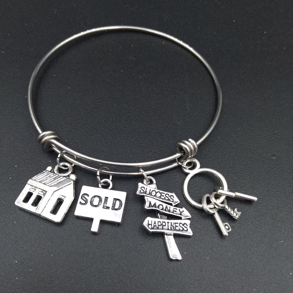 Stainless Steel Charmed Real Estate Bracelet