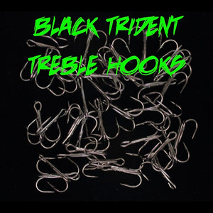 BLACK TRIDENT TREBLE HOOKS