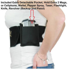 Side pocket on quick draw holster, Magnetic Quick Draw Holster, quick draw holster, quickdrawholster.com, quick draw holster fits all pistols, best concealed carry holster