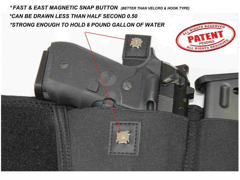Magnetic snap button on quick draw holster, Magnetic Quick Draw Holster, quick draw holster, quickdrawholster.com, quick draw holster fits all pistols, best concealed carry holster