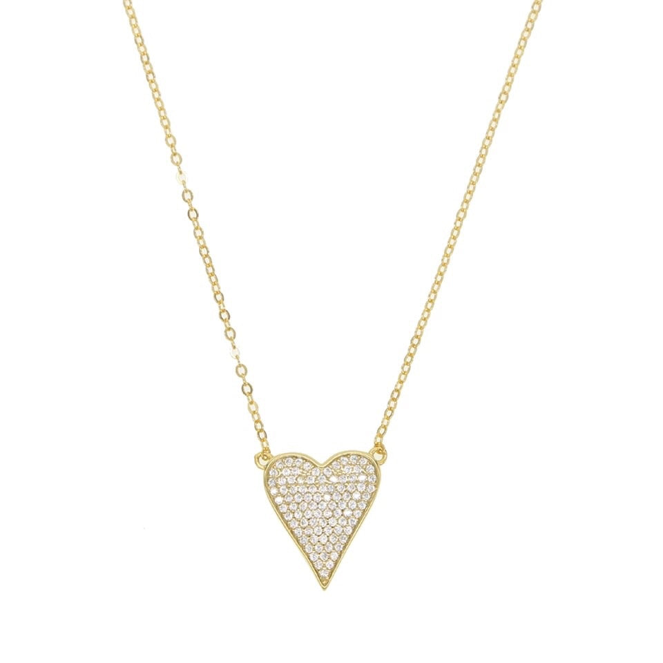 Split Chain Pave Heart Necklace