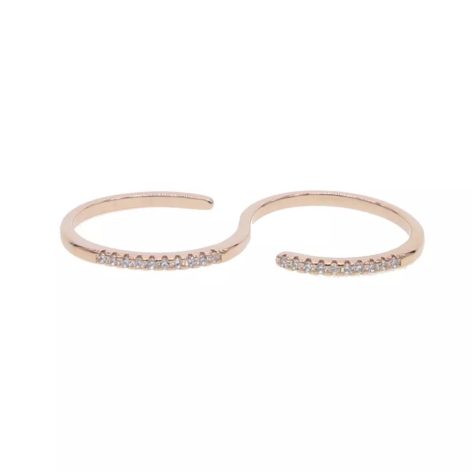 Kira Adjustable Double Finger Ring