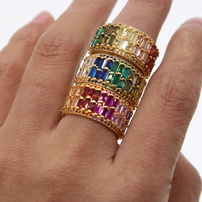 Double Stack Rainbow Ring