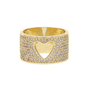 Pave Heart Cut Out Ring