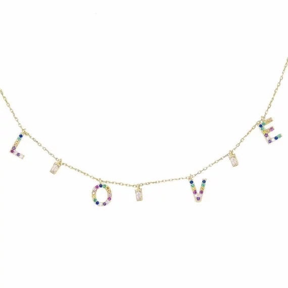 Rainbow Love Charm Necklace