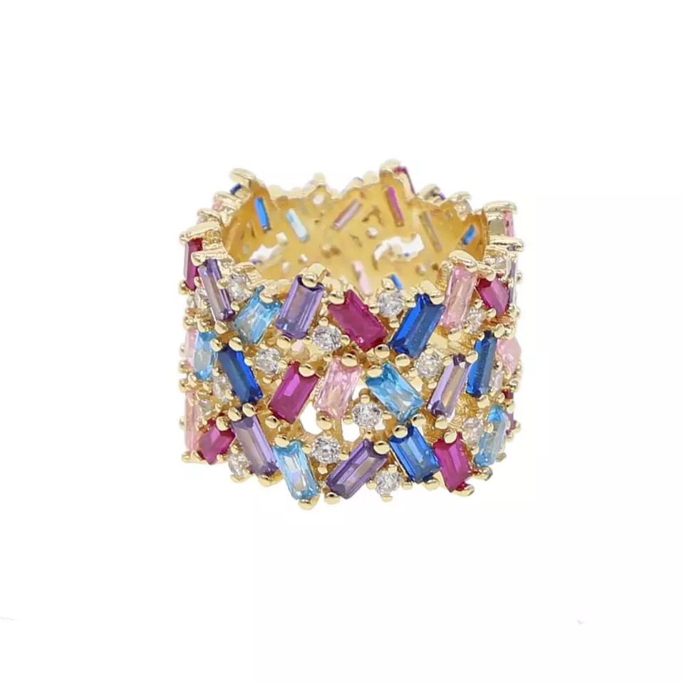 Multicolor Double Stack Ring
