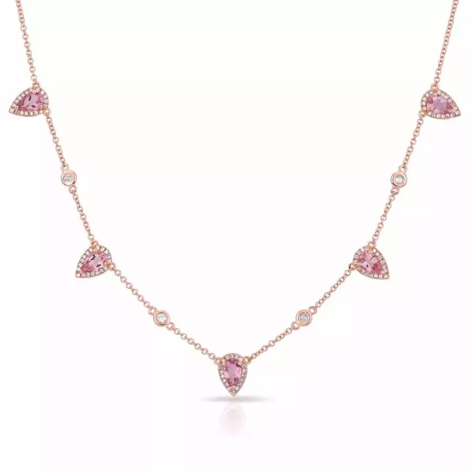 Pink Pear Necklace