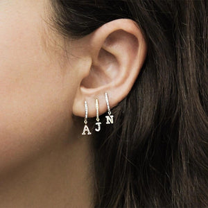Initial Letter Pave Charm Earring