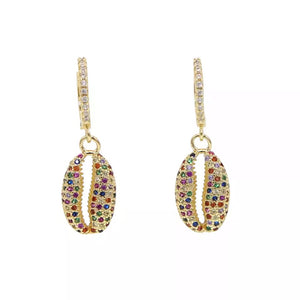Pave Shell Earings