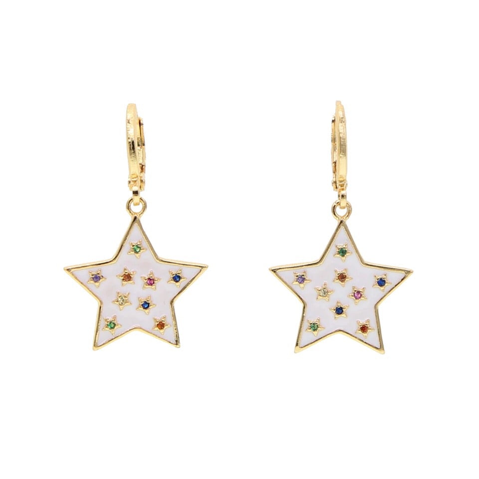 Enamel Star Earrings